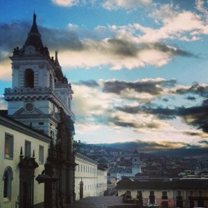 Sunrise view from my room at Casa Gangotena, on my first morning in Quito