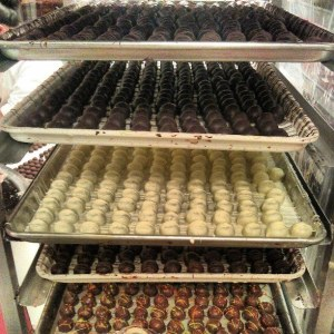 Hand-dipped and fresh off the line at Graham's Fine Chocolates