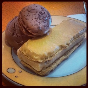 Salted Caramel Macaron Ice Cream Sandwich with Chocolate Macarons, at Francois Payard Patisserie in NYC (#macaronsnotmacaroons)