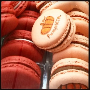 Red Velvet and Chocolate Pumpkin Macarons by Macaron Parlour in New York City