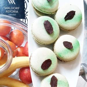 Luscious chocolate mint macarons at the Waldorf Chicago