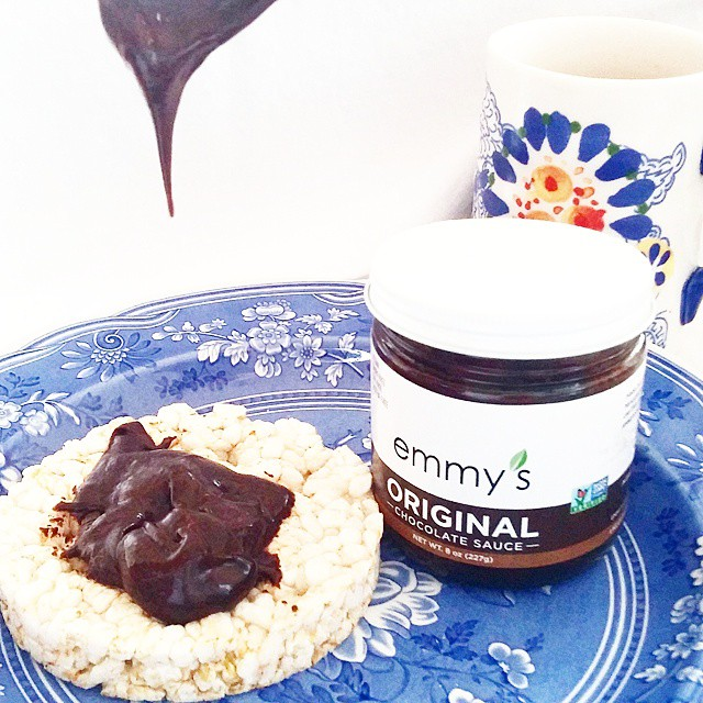 Love the chocolate spread from Emmy's Organics, with all clean ingredients - vegan, gluten-free, GMO-free - shown here at snack time chez moi. It's easy to upgrade your chocolate spread, and all of your chocolate, with brands like these!