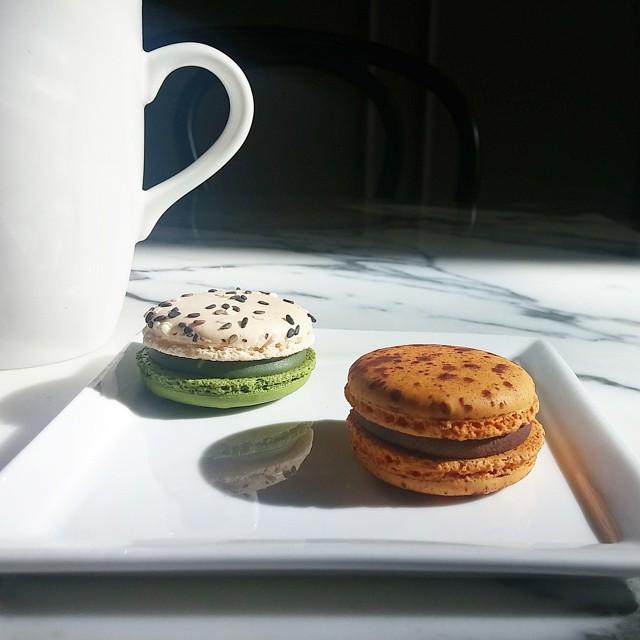 moody matcha and chocolate passionfruit macarons