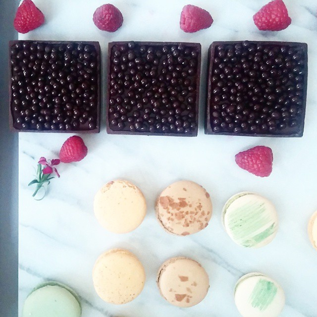 Deeply impressive chocolate raspberry tart and macarons by newcomer Verzenay Patisserie, a delightful husband-and-wife team