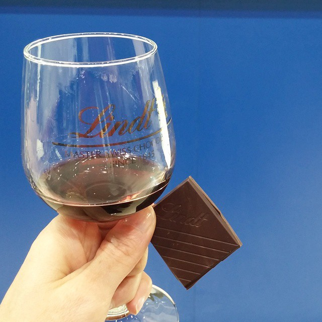 Wine and chocolate tasting at Lindt, with wines developed specifically for the brand