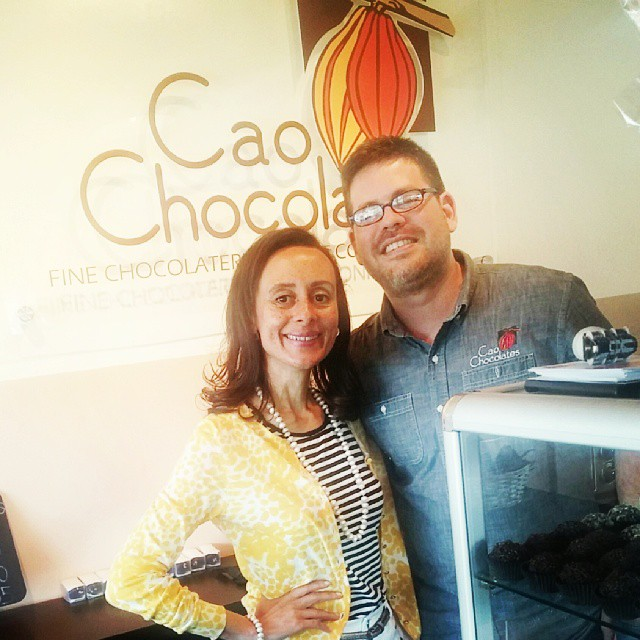 With Ricardo Cao Trillos at his magic Miami chocolate shop