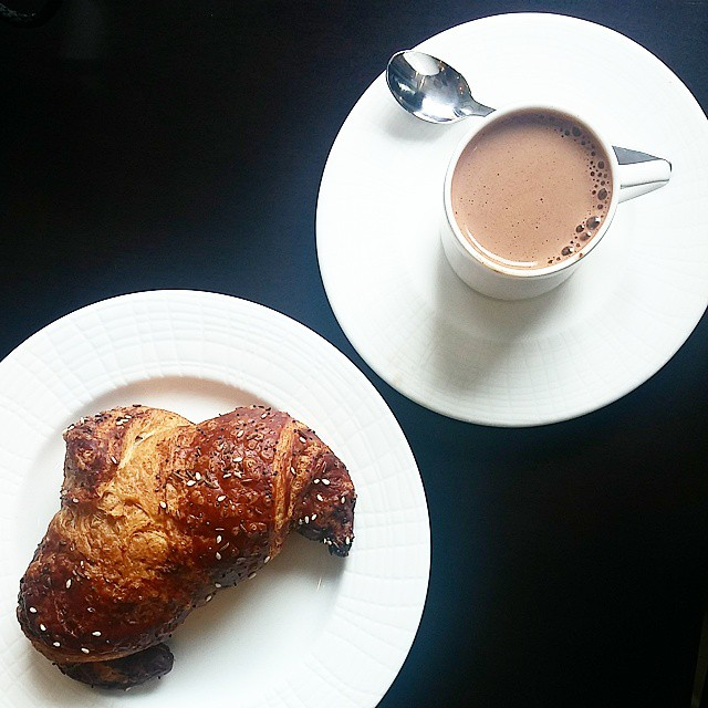 Pretzel croissant by Beurrage and drinking chocolate at Cocoa + Co.