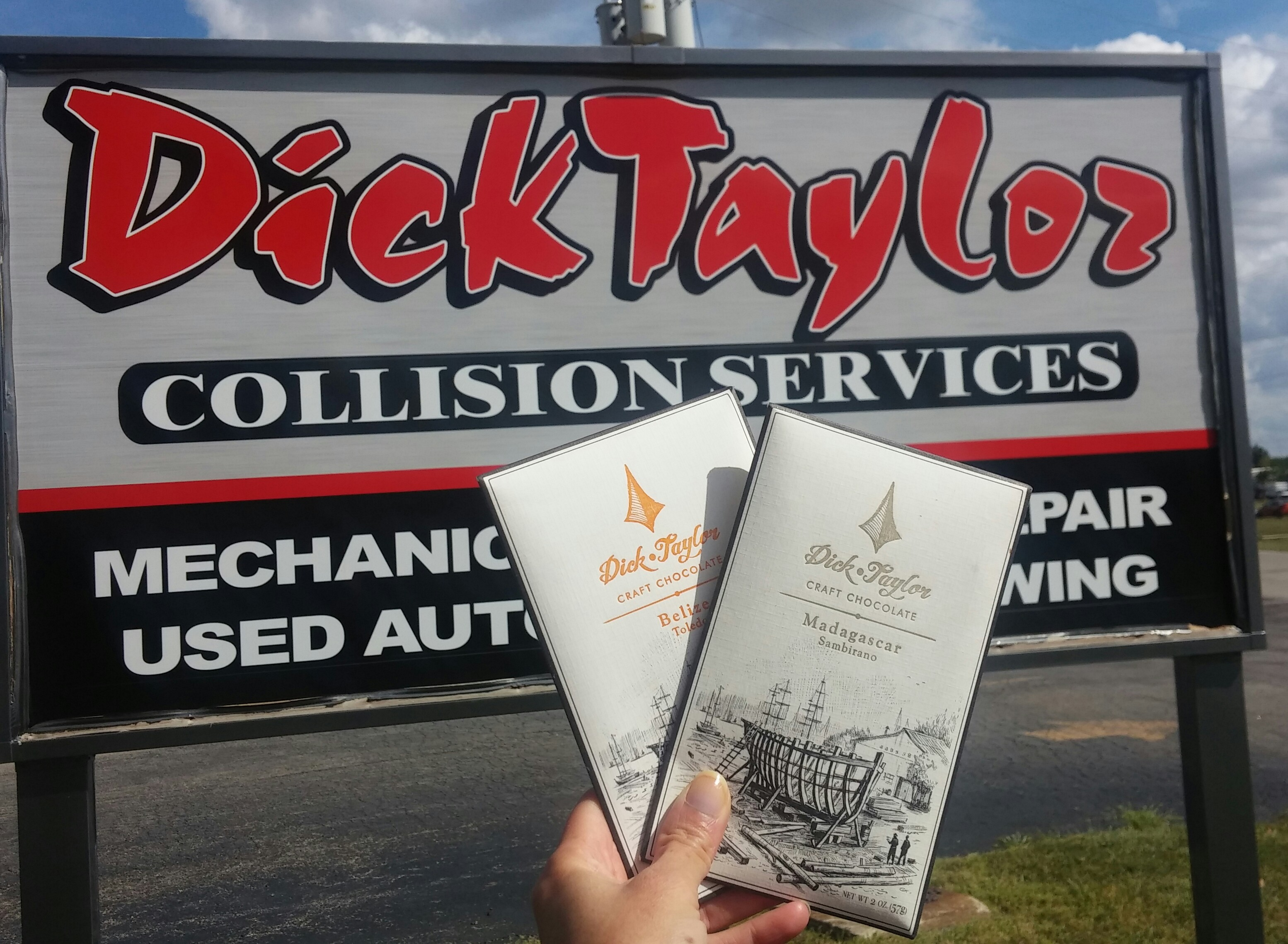 Inside joke: Dick Taylor craft chocolate from California meets Dick Taylor Collision Services of Illinois