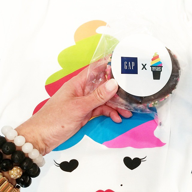 Had a blast at the Gap x Big Gay Ice Cream collaboration at the clothing brand's Fifth Avenue flagship store. It was a hot day, so I ate that delicious ice cream sandwich fast. What happened to my new collab tshirt, shown here as the background? Click to find out!