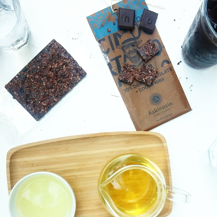 Askinosie chocolate bar, made from Ecuador cacao and topped with cocoa nibs