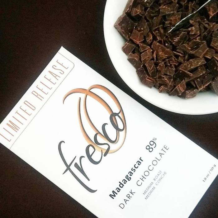 Woman-owned Fresco Chocolate: love the bright zingy flavor and smooth texture of the Madagascar 89%.