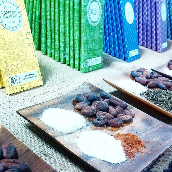 Pure ingredients on display, along with delicious chocolate and beautiful packaging, by Xocolatl at the NW Chocolate Festival